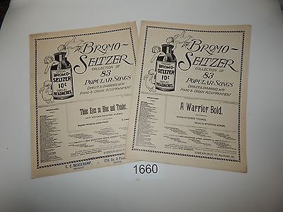 Vintage Collectibles LOT OF 2 Music Sheets LATE 1800'S BROMO-SELTZER 1660