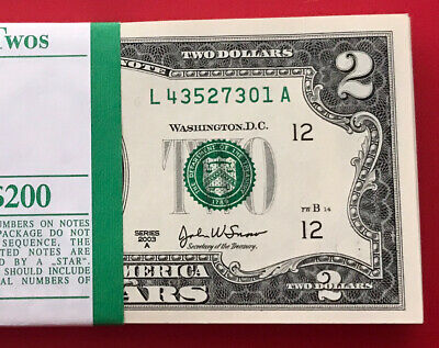 "(1) Two Dollar Bill $2 Note, 2003 A "" ST LOUIS"" ,Consecutive ,Uncirculated"