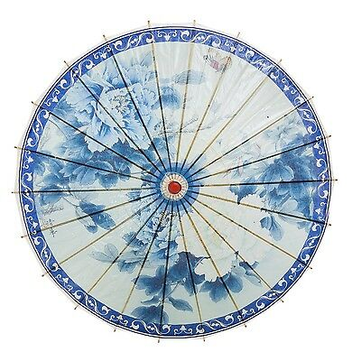 "THY COLLECTIBLES Rainproof Handmade Chinese Oiled Paper Umbrella 33"" Blue & W..."