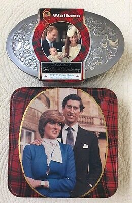 Walkers Set Of 2 Collectible Vintage & New Tin Lady Diana/Royal Christening