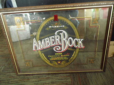 Michelob beer sign  AMBER ROCK LARGE MIRROR SIGN 29 BY 22 ''