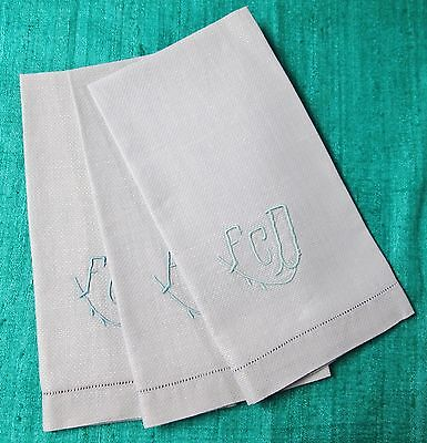 Antique 3 Blue Nubby Linen Towels F C D Monogram Hemstitched Trousseau