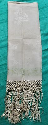 Antique Fringed Linen Damask Show Towel Green Bands Florals Bead Garland