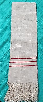 Antique French Towel Nubby Linen Fringed Triple Red Striped Unused & Unusual