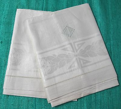 Antique 2 Irish Linen Damask Towels H D P Monogram Garlands Medallions Millmarks