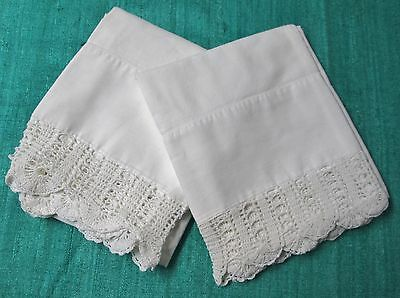 Antique Pillow Case Pair Ornate Hand Crocheted Trim Shell Stitch