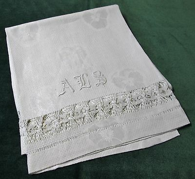 Antique Nubby Linen Bath Towel Pansies and Ornate Drawnwork A L S Monogram