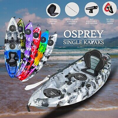 2.7M Fishing Kayak Single 2017 Sit On Top Seat Paddle Package Newcastle Grey