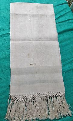 Antique Fringed Linen Damask Show Towel Blue Bands Acorns & Oak Leaf Unused