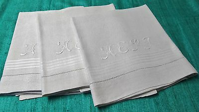 Antique 3 Nubby Linen Bath Towels H E P T Monogram Satin Stripes Hemstitched