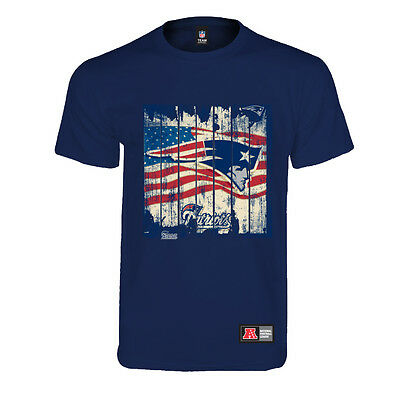 Majestic Official NFL New England Patriots American Flag Logo T-shirt Navy