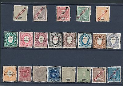 1892 - 1911 Mozambique (21) EARLY ISSUES INCLUDING OVERPRINTS; MH & USED; CV $45