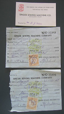 Vintage SINGER Sewing Machine Receipts With Stamp Duty & Business Card 1955