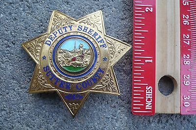 Old Obsolete California CA Sutter County Deputy Sheriff Badge, Not Police