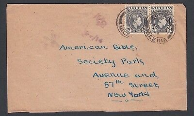 NIGERIA 1940s TWO WWII CENSORED COVERS LAGOS & BONNY TO NEW YORK & CALIFORNIA US