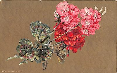 Pretty Geraniums on Gold Background - Old Postcard