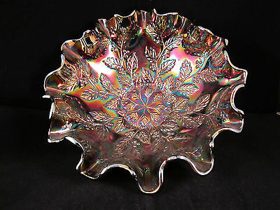 Contemporary Fenton Red Carnival Glass Bowl Holly Pattern Spectacular Signed