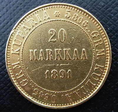 Russia Finland 1891 L Gold 20 Markkaa Cleaned Jewelry Grade Better Date