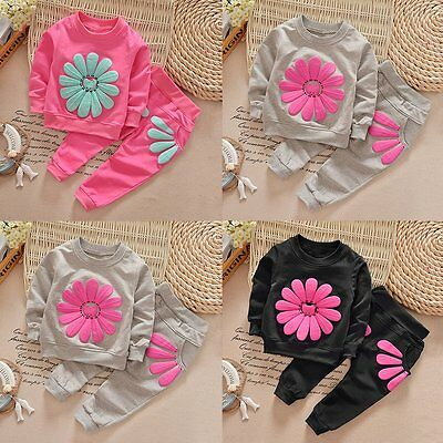 2PCS Toddler Kids Baby Girls Outfits Long Sleeve Dress Tops +Pants Clothes Sets