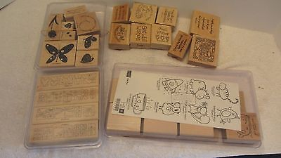 Lot of 29 STAMPIN UP Wooden Embossing Stamps for Scrapbooking, Crafts, Cards
