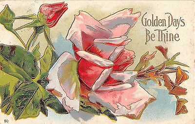 Lovely Pink Roses on 1911 Postcard - No. 90