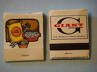 1980s Matches Matchbook    GIANT Grocery Store Chain ~ Nutrition Tips: Cereals +