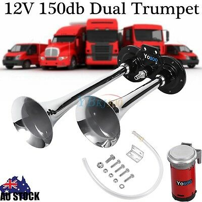 Dual Trumpet Air Horn 12 Volt 150dB for Car Truck RV Train Boat Motorcycle NEW
