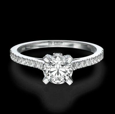 F/SI1 Round Cut Diamond Engagement Ring 1.48 CT 18K White Gold Natural Certified