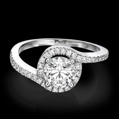 New 18K White Gold Enhanced Round Cut Diamond Engagement Ring 1.75 CT D/SI1