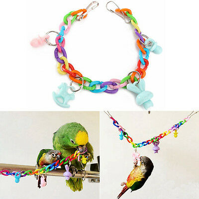 Colorful Parrot Swing Bird Toys Rope Harness Parakeet Cockatiel Budgie Chew Toy