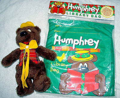 Vintage Humphrey B Bear Library Bag in sealed packaging, and Plush Toy 30cm