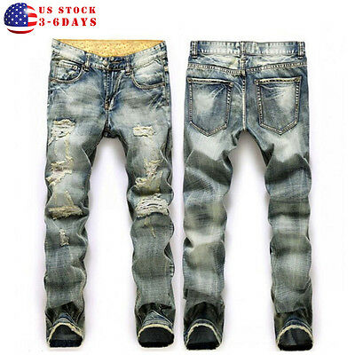 Vintage Men's Straight Hole Slim Fit Jeans Blue Distressed Ripped Skinny Pants