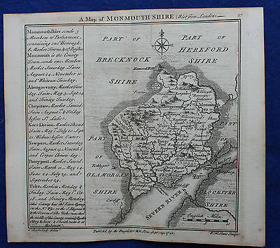 Original antique copper-engraved map WALES MONMOUTHSHIRE, Badeslade & Toms, 1742