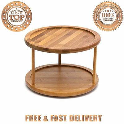 Lipper International 8302 Bamboo 2 Tier 10 Inch Turntable Light Wood Color