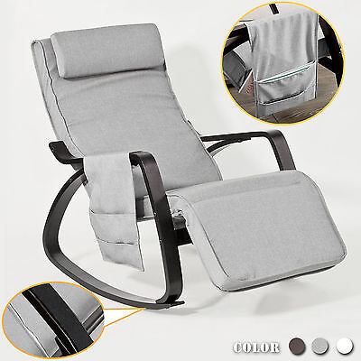 SoBuy® Relax Rocking Chair Lounge Chair with Footrest and Side Bag, FST20-HG,UK