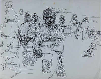 Mid 20th Century Pen and Ink Drawing - Bar Scene