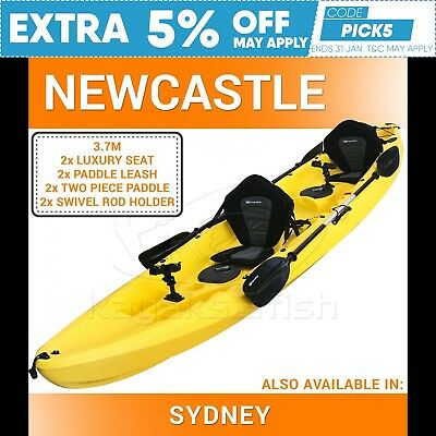 Double Fishing Kayak Two Person Sit on Kayak Seats Paddles Newcastle Yellow New