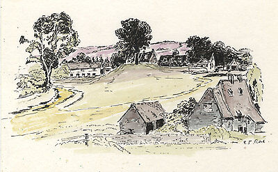 E.P. Rose - Contemporary Pen and Ink Drawing, Landscape with Houses