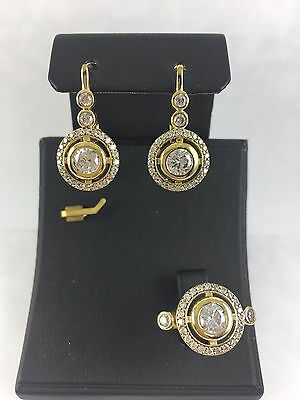 Turkish Made Jewelry 925 Sterling Silver White Topaz Earrings & Ring Set