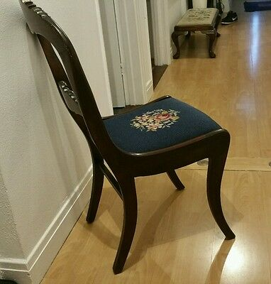 Victorian Balloon Back Tapestry  Chair Roses On Blue