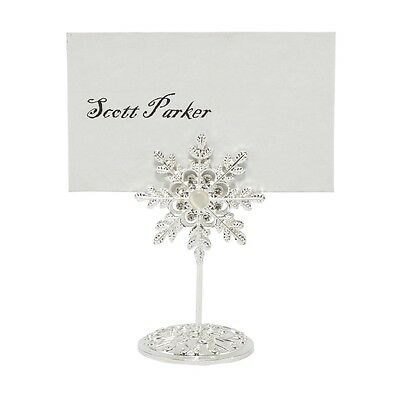 Diamante Silver Jewelled Snowflake Wedding Name Card Holders and Table Number