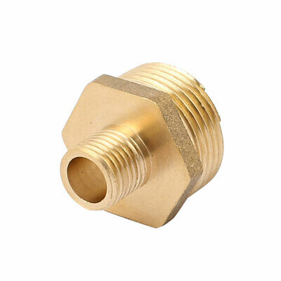 3/4BSP to 1/4BSP Male Thread Brass Pipe Hex Nipple Fitting Quick Adapter