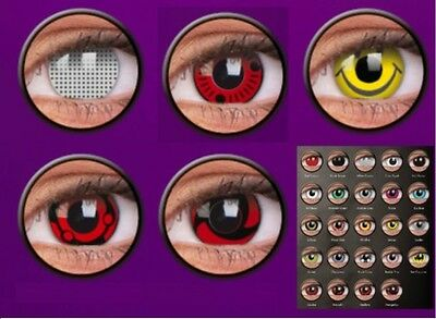 Crazy Fun Halloween Contact Lenses Kontaktlinsen lentilles Naruto Smiley Cartoon