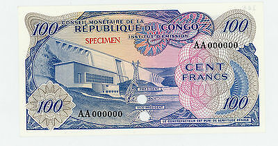 Congo Democratic Rep … P-1ct … 100 Francs … ND(1963) . *UNC* Specimen-Color Tria