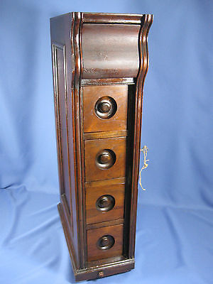 SINGER Drawing Room Cabinet PARTS ~ Left Side 5 Drawer (lock & key) ~ Mahogany