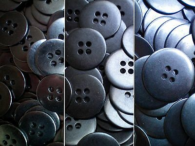 15mm 20mm 25mm Gunmetal Grey Metal 4 Hole Industrial Jacket Buttons (MB89-MB91)