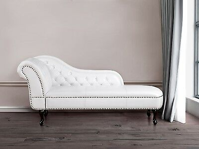 Chaise lounge, day bed, chesterfield, lounge, old English, white