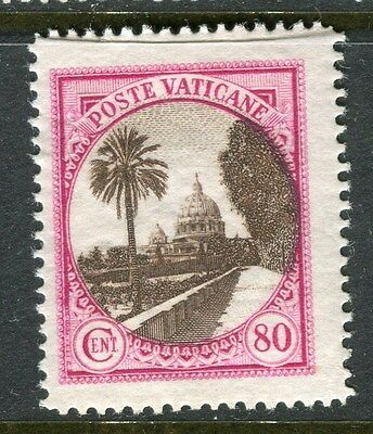 ITALY VATICAN;  1933 early pictorial issue Mint hinged 80c. value