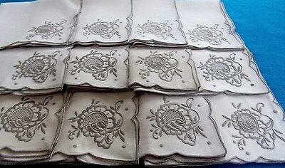 "Vintage 12 Lovely Beige Linen Taupe Hand Embroidered Napkins 17"" Hand Laundered"