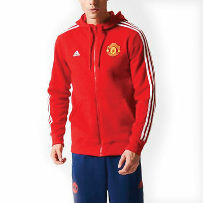 Manchester United adidas Hooded Sweatshirt MUFC Jacket Red Small Mens Boys NEW